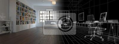 Camera da letto mit libreria, illustrazione 3d, übertragend ...