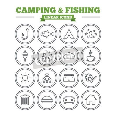 Camping Und Angeln Lineare Icons Gesetzt Tourist Zelt Feuer