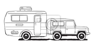 Fototapete Camping Wohnwagen Wohnmobil Amper Auto Mit Anhänger Schwarz Weiß Hand