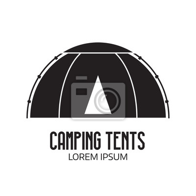 Campingplatz logo oder etikettenvorlage. umriss-tepee-symbol ...