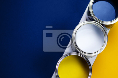 Fototapete Cans of paint on a background of yellow and classic blue.