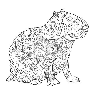 Capybara Färbung Buch Vektor-Illustration