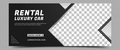 Fototapete Car rental horizontal banner design template. Modern banner with place for the photo. Usable for banner, cover, header, and background.