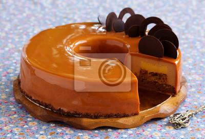 Caramel kaffee kuchen in den spiegel glasur fototapete fototapeten backwaren verglasung - Kuchenspiegel mit fototapete ...