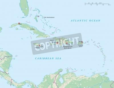 Caribbean islands political map fototapete • fototapeten San Juan ...