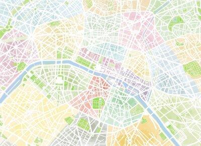 Fototapete Cartina Parigi, Krankheit, Manie, Pennellate, Strade e vie, Francia