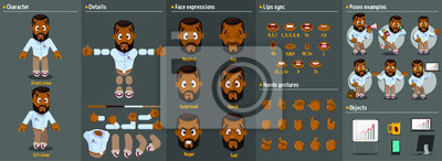 Fototapete Cartoon afro-american man constructor for animation. Parts of body: legs, arms, face emotions, hands gestures, lips sync. Full length, front, three quarter view. Set of ready to use poses, objects