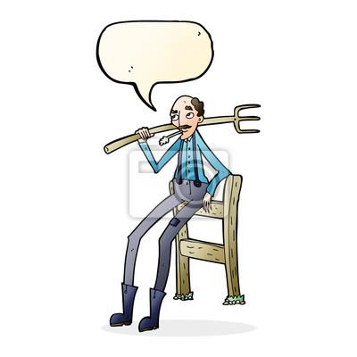 Cartoon Alten Bauer Lehnt Auf Zaun Mit Sprechblase Fototapete