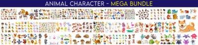 Fototapete Cartoon animal set. Big set isolated animals. Mega collection funny animals. Wild Animal Characters, Big animals set, wild, lion, tiger, zoo,  monkey, rabbit, safari, zebra, cat & many more vector.