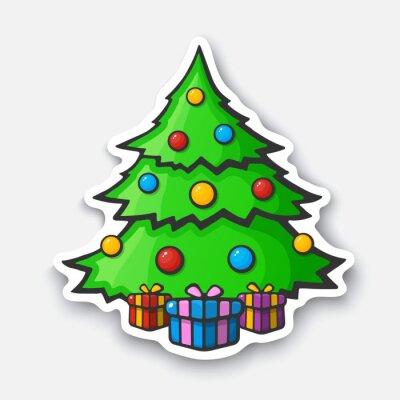 Weihnachtsbaum Comic.Fototapete Cartoon Aufkleber Mit Weihnachtsbaum Im Comic Stil
