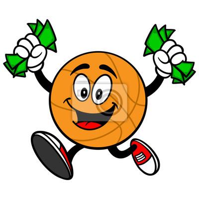 Cartoon Basketball Laufen mit Geld