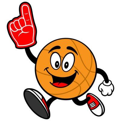 Fototapete Cartoon Basketball Laufen mit Schaum-Finger