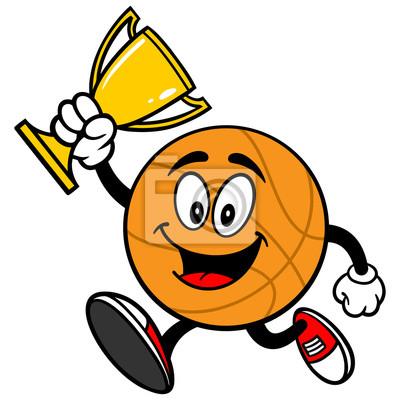 Cartoon Basketball Laufen mit Trophy