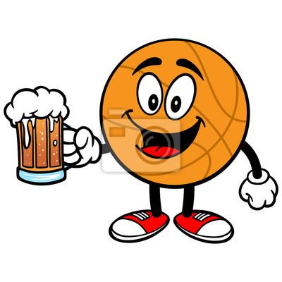 Cartoon Basketball mit Bier