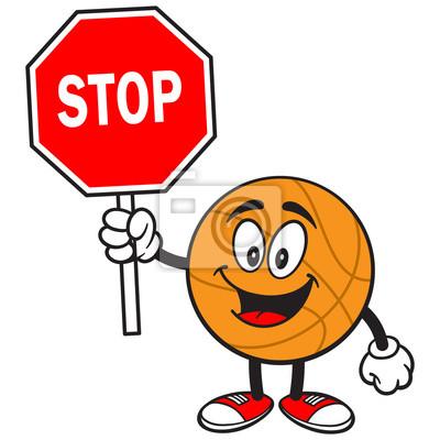 Cartoon Basketball mit Stop-Schild
