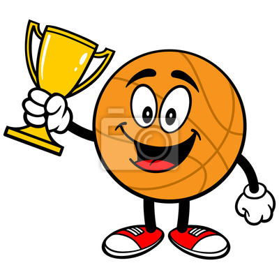 Cartoon Basketball mit Trophy