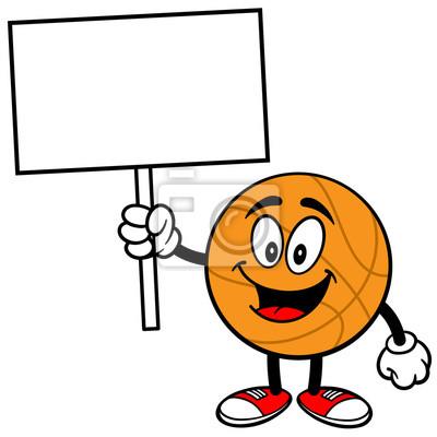Cartoon Basketball mit Zeichen