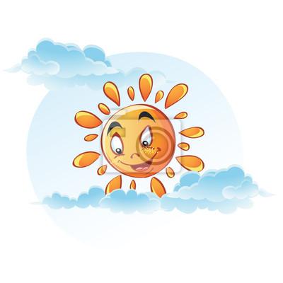 Cartoon Bild der Sonne in den Wolken.