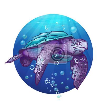 Cartoon Bild einer Meeresschildkröte.