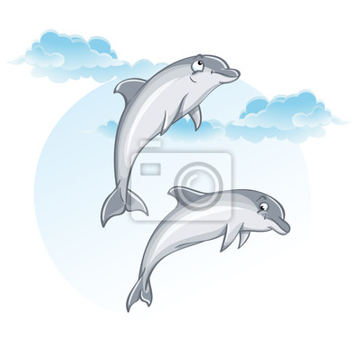 Cartoon Bild von Delfinen.
