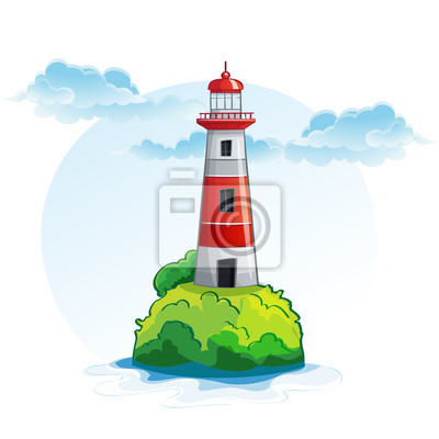 Cartoon Bild von der Insel mit einem Leuchtturm.