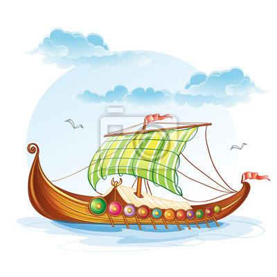 Cartoon Bild von der Viking Handelsschiffe S.VI.