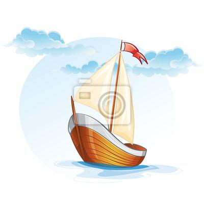 Cartoon Bild von einem hölzernen Segelboot.