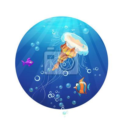 Cartoon Bild von einem Meer Quallen und Fische.