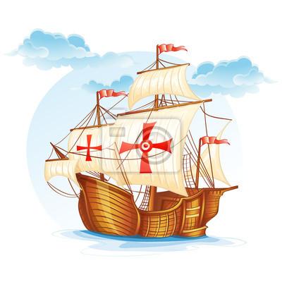Cartoon Bild von einem Segelschiff von Spanien
