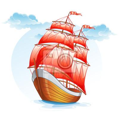 Cartoon Bilder von einem Segelboot mit roten Segeln.