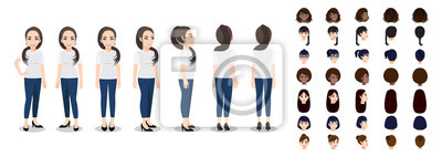 Fototapete Cartoon character with a woman in T-shirt white casual for animation. Front, side, back, 3-4 view character. Set of female head and flat vector illustration.