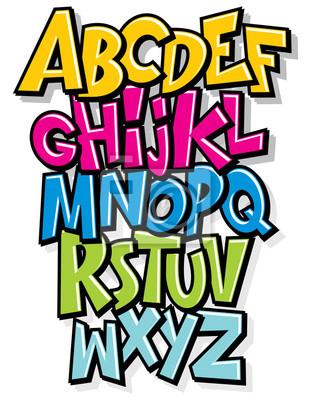 Cartoon Comic Graffiti Doodle Schriftart Alphabet. Vektor