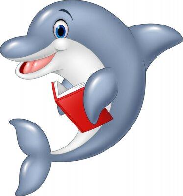 Fototapete Cartoon Delfin Holding Buch isoliert auf weißem Hintergrund