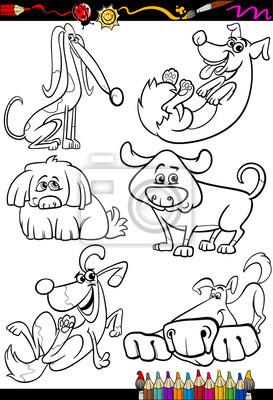 Cartoon dogs set for coloring book fototapete • fototapeten ...