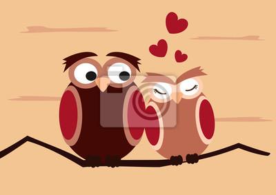 Cartoon Eulen Auf Zweig Lustig Und Romantischen Valentinstag