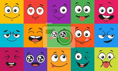 Fototapete Cartoon face expressions. Happy surprised faces, doodle characters mouth and eyes. Face doodle or shy, love and kiss kawaii manga emotion. Emoticon comic avatar vector illustration set