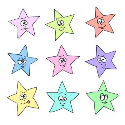 Cartoon faces emotions. Set of color festive fun stars. Different hand drawing star shapes