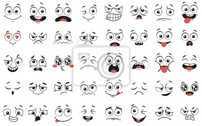 Fototapete Cartoon faces. Expressive eyes and mouth, smiling, crying and surprised character face expressions. Caricature comic emotions or emoticon doodle. Isolated vector illustration icons set