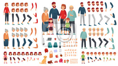 Fototapete Cartoon family creation kit. Parents, children and grandparents characters constructor. Big family, mascot emotions, body gesture and hairstyle. Isolated vector illustration symbols set