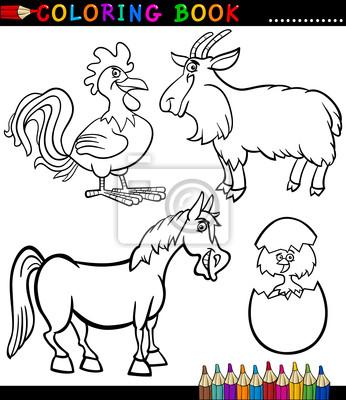 Cartoon farm animals für malbuch fototapete • fototapeten Schwanz ...