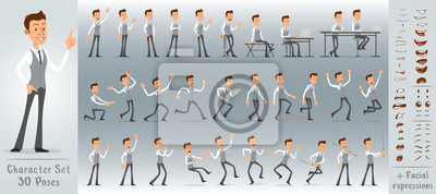 Fototapete Cartoon flat cute funny business office boy character in jerkin with tie. 30 different poses and face expressions. Isolated on white background. Big vector icon set.