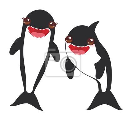 Fototapete: Cartoon grampus orca, killer whale, sea wolf kawaii with pink
