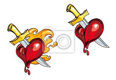 Cartoon Herz mit Messer