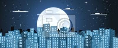 Fototapete Cartoon Hintergrund Gebäude im Mondschein