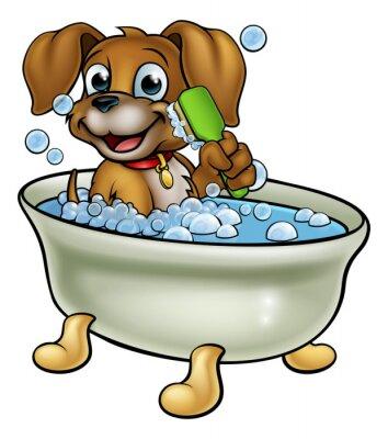 Cartoon Hund In Der Badewanne Fototapete Fototapeten Hunde Pflege