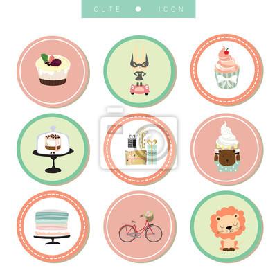 Cartoon Icon Sammlung Mit Fahrrad Lowe Kuchen Geschenk Kaninchen