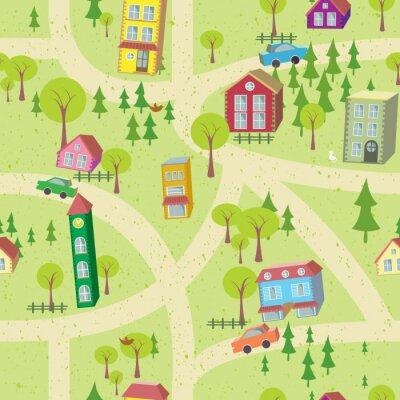 Fototapete Cartoon-Karte nahtlose Muster mit Häusern und Straßen