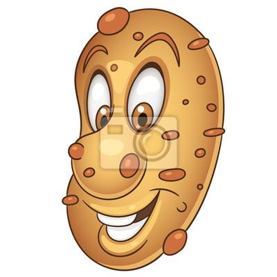 Cartoon-kartoffel-charakter. glückliches gemüsesymbol. essen-symbol ...