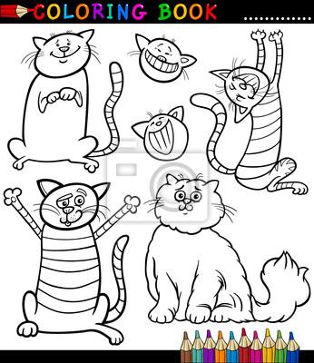Cartoon katzen oder kätzchen malvorlagen fototapete • fototapeten ...