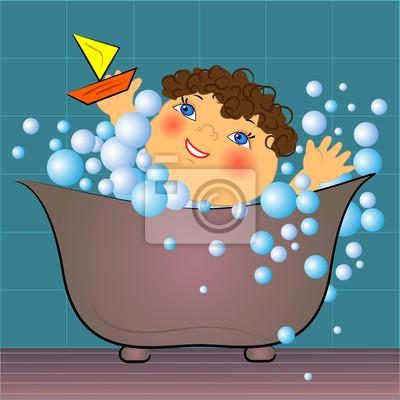 Cartoon Kind In Der Badewanne Mit Blasen Vektor Illustration